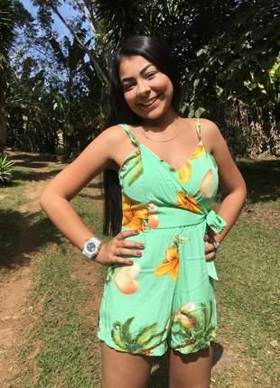 Macaquinho floral de shorts estampado feminino curto soltinho bojo modinha macacão verde