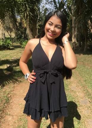Macaquinho shorts feminino curto soltinho bojo modinha macacão preto
