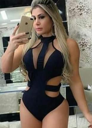 Body feminino tiras gola tule moda feminina