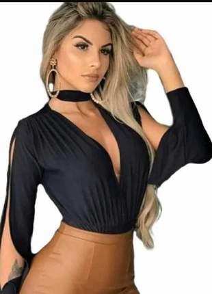 Body blusa manga aberta gola alta decotado feminina
