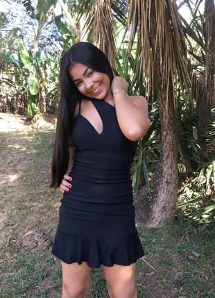 Vestido bengaline preto basicon justo um ombro feminino tubinho festa