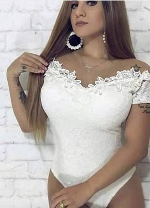 Body renda tule manga curta moda feminina