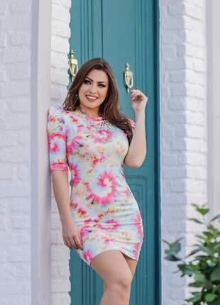 Vestido curto feminino tie dye moda