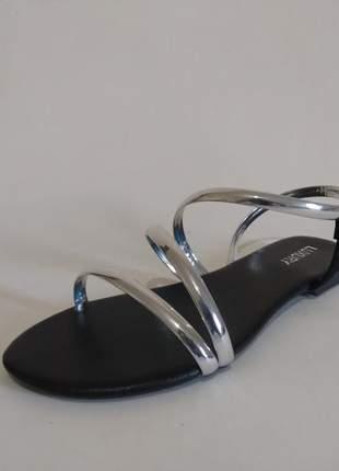 Sandália feminina rasteira prata metal-lx005