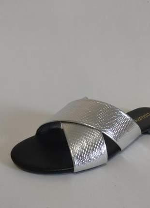 Rasteira feminina prata -lx006