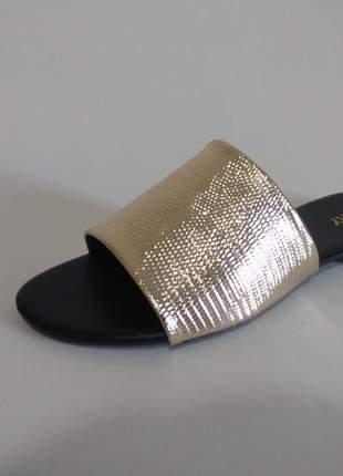 Rasteira feminina slide dourada -lx007