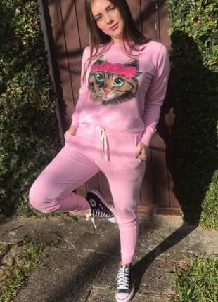 Conjunto moletinho feminino moleton gato rosa estonado
