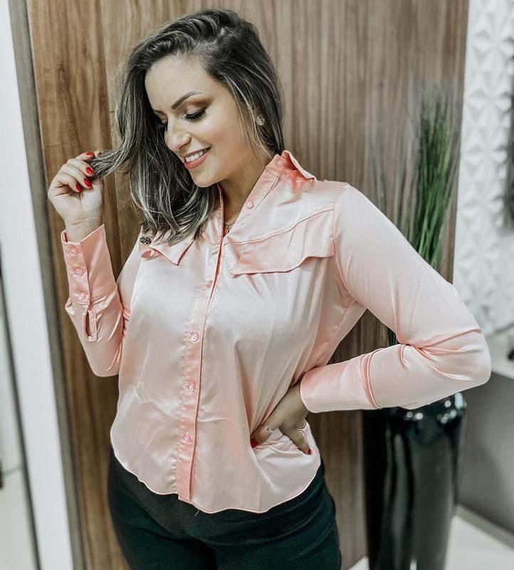 Camisa femina rosa, rosê cetin