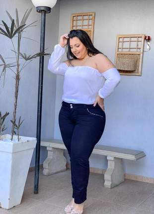 Calça jeans plus size strech moda feminina alta inverno social