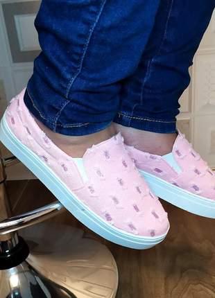 Tênis feminino casual slip on alpargata sapatilhas jeans preto azul e rosa com glitter