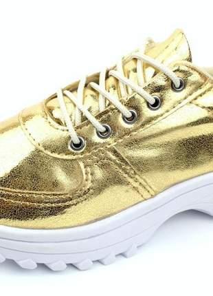 Tênis feminino chunky dad sneaker dourado
