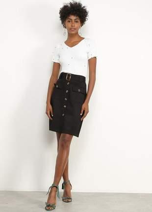 Saia modelo evangélica botões preta com cinto moda feminina