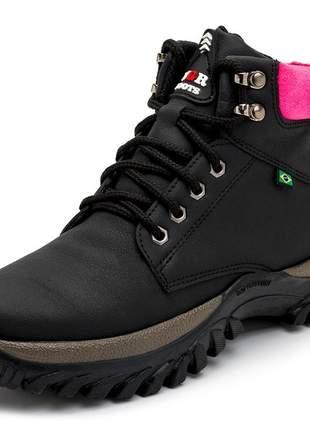 Tênis bota coturno adventure feminino preto com rosa