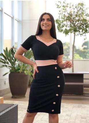 Vestido tubinho moda evangélica social bicolor blogueira