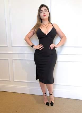 Vestido social tubinho com fenda lateral e decote v preto