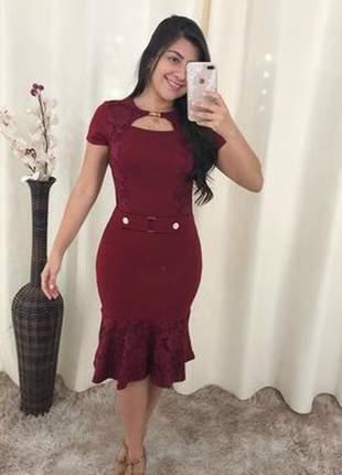 Vestido tubinho com renda evangélico social moda feminina