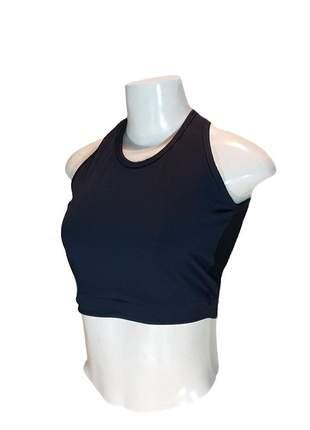 Top cropped tela fitness academia costa em tule esporte sem bojo cores lisas