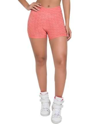 Short feminino fitness em tecido bolha