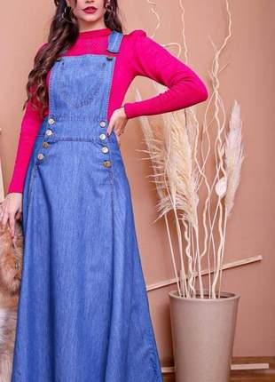 Jardineira salopete longa jeans