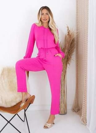 Conjunto malha com blusa manga longa capuz e calça rosa pink