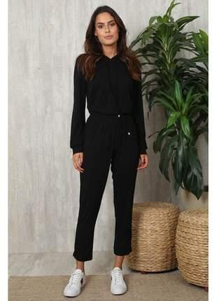 Conjunto malha com blusa manga longa capuz e calça preto