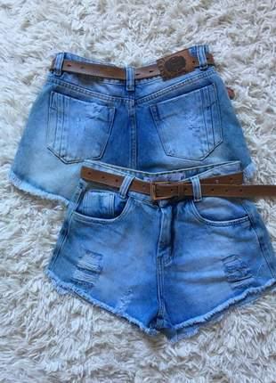 Shorts jeans hot pants claro feminino cintura levanta bumbum desfiado