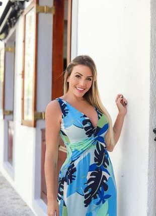 Vestido longo azul estampado atenas