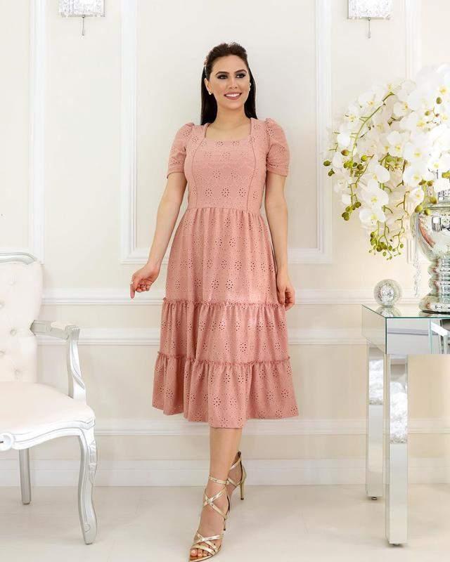 Vestido feminino midi lese manga princesa moda evangelica