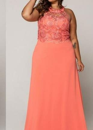 Vestido plus size coral de festa gg exg moda casamento formatura longo