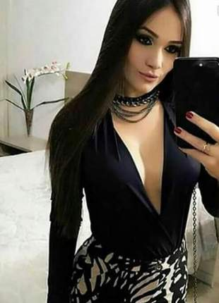 Body feminino decote transpassado manga longa