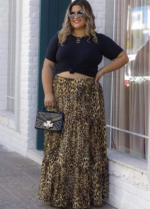 Saia longa plus size animal print brigite