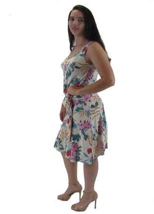 Vestido midi moda evangelica vcut estampa floral