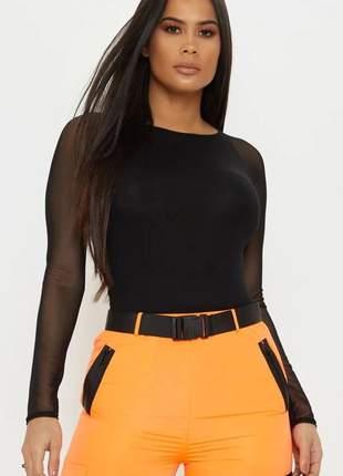 Body feminino manga longa tule