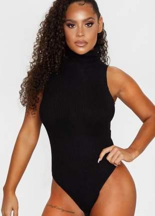 Body feminino canelado gola alta sem mangas