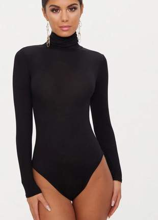 Body feminino gola alta manga longa