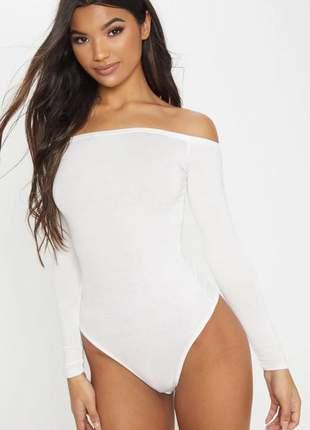 Body feminino manga longa ombro a ombro