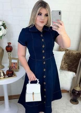 Vestido jeans médio com botões barra rodada