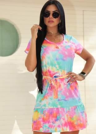 Vestido de alcinha tie dye feminino curto