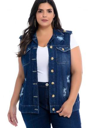 Colete destroyed rasgado  jeans plus size com bolsos frontais