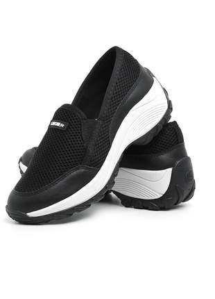 Tênis feminino slip lirom casual plataforma elástico confortável preto