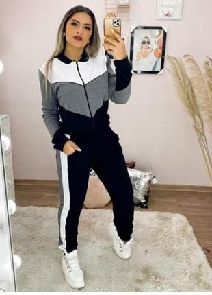 Conjunto plus size moda inverno gg casaco e calça tendência 2020
