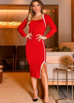 Conjunto blusa e saia midi vermelho