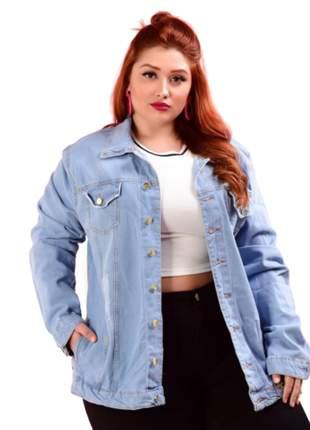 Jaqueta jeans plus size lavagem clara