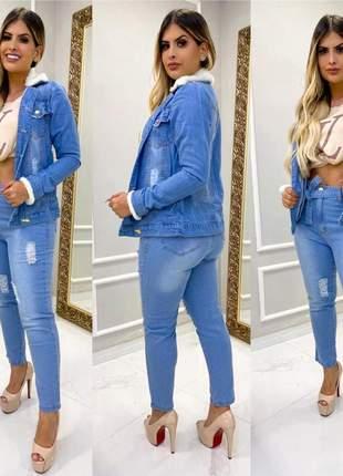 Jaqueta parka jeans feminina com pelinho pelucia  na gola
