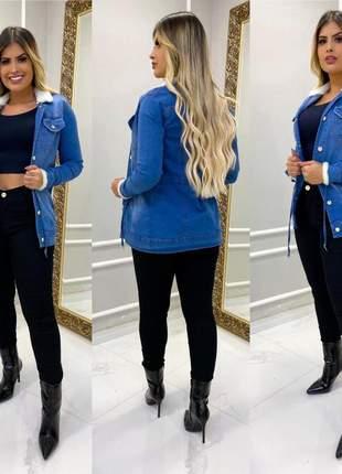 Parja jeans acinturada com pelucia gola e manga