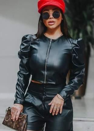 Jaqueta jaquetinha feminina courinho couro sintético manga bufante p ao gg
