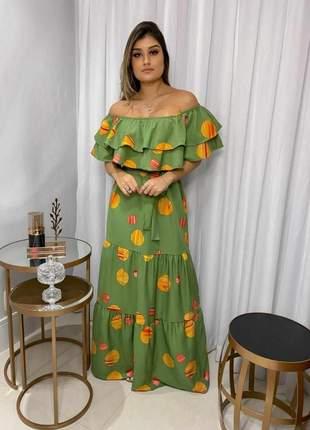 Vestido cigana verde caqui