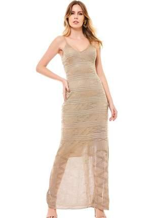 Vestido ralm longo tricot - dourado