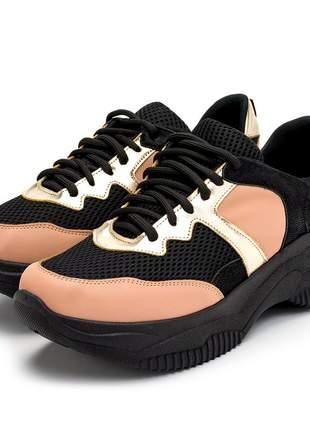Tênis feminino sneakers chunky preto dourado nude solado preto
