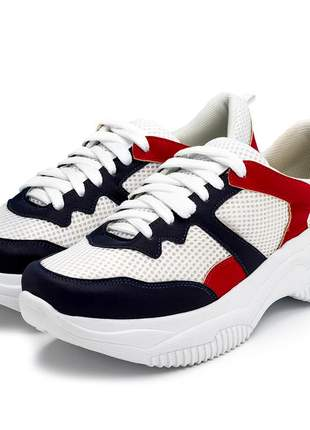 Tênis feminino sneakers chunky branco azul marinho e vermelho